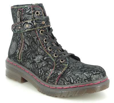 Rieker 76241-00 Black Floral Lace Up Boots