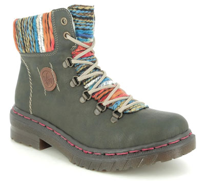 Rieker 76243-54 Green Lace Up Boots
