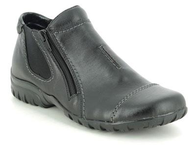 Rieker Wide Fit L4652-00 Black Leather Ankle Boots