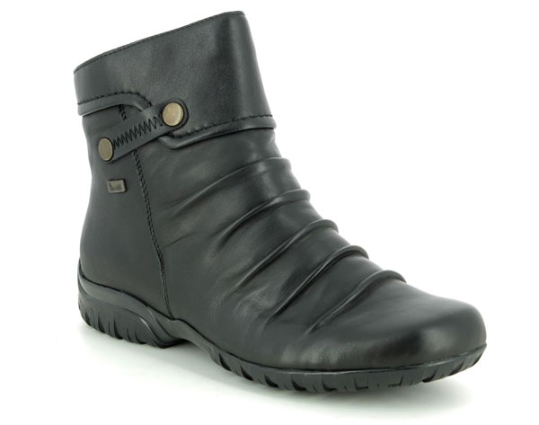 Rieker Z4652-00 Black Leather Ankle Boots