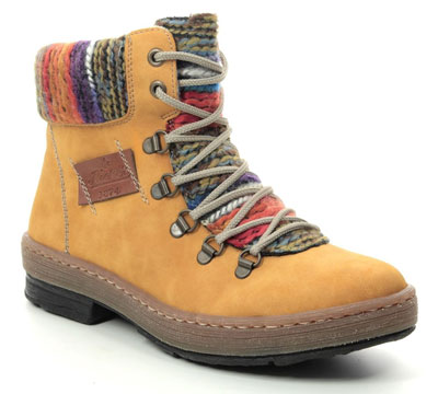 Rieker Z6743-68 Yellow Lace Up Ankle Boots
