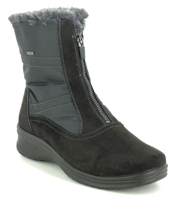 Ara Munich Zip Gore Black Zip Up Walking Boots