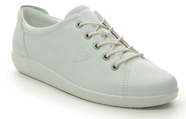 ECCO Soft 2.0 Comfort Lacing Shoes White Leather