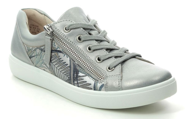 Hotter Chase E Fit SIlver Leather Trainers