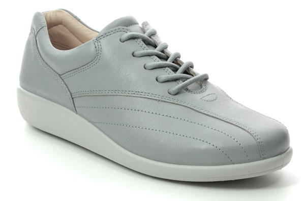 Hotter Tone E Fit Grey Leather Comfort Lacing Shoes