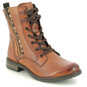 Bugatti Ronja Zip Tan Leather Boots for Sweaty Smelly Feet