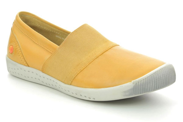 Softinos Ino Yellow Leather Slip On Shoes for Corns