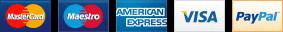 Mastercard, Maestro, American Express, Visa, PayPal