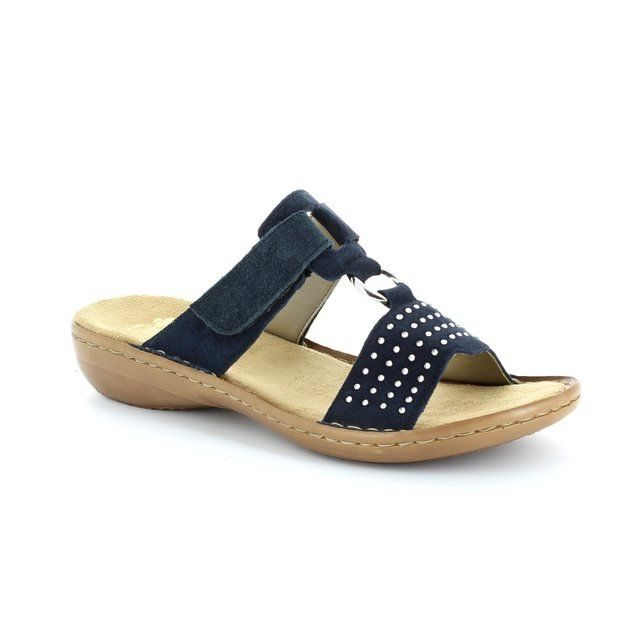 Rieker 608K2-14 Navy suede sandals