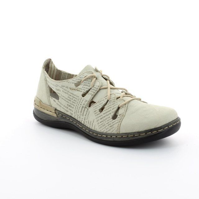 Rieker 54007-60 Beige multi lacing shoes