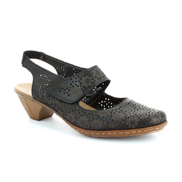 Rieker 46796-00 Black heeled shoes