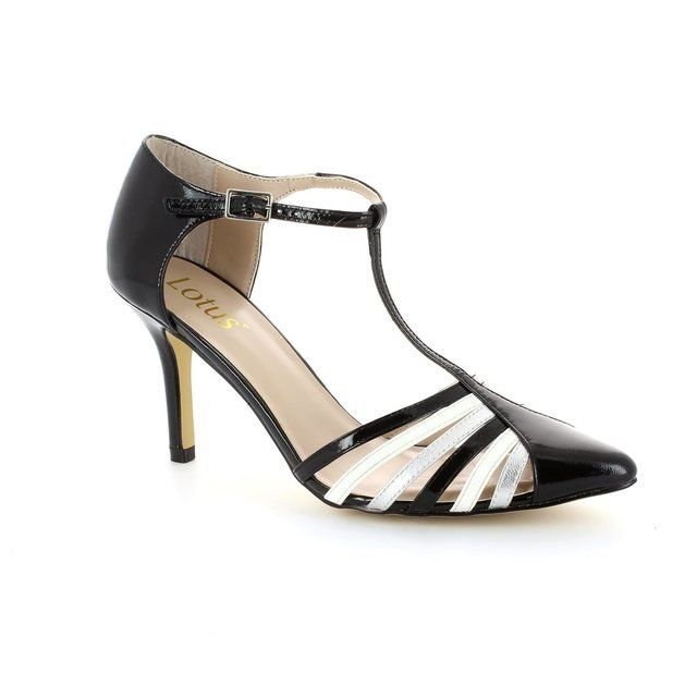 Lotus Georgina Black white high-heeled shoes