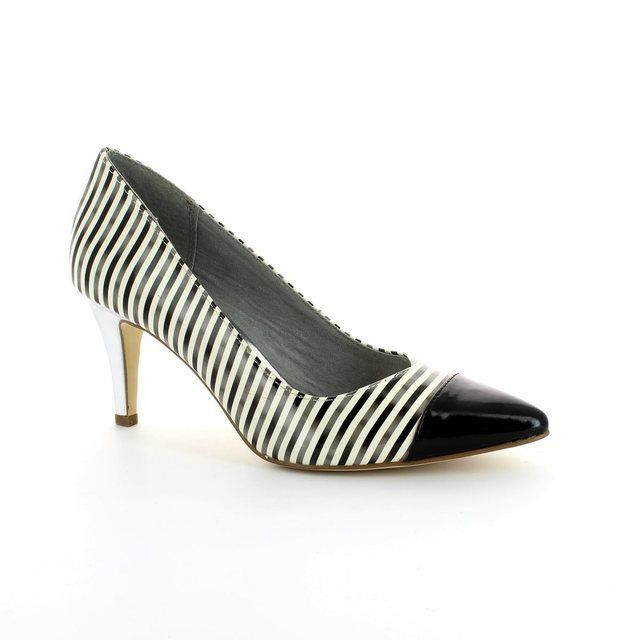 Tamaris Season 22447-208 Black white high-heeled shoes