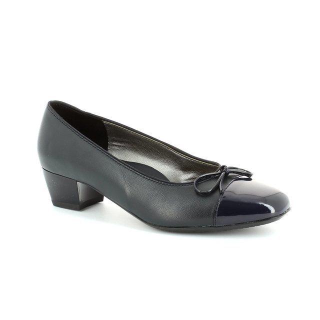 Ara Madi 1243503-14 Navy patent heeled shoes