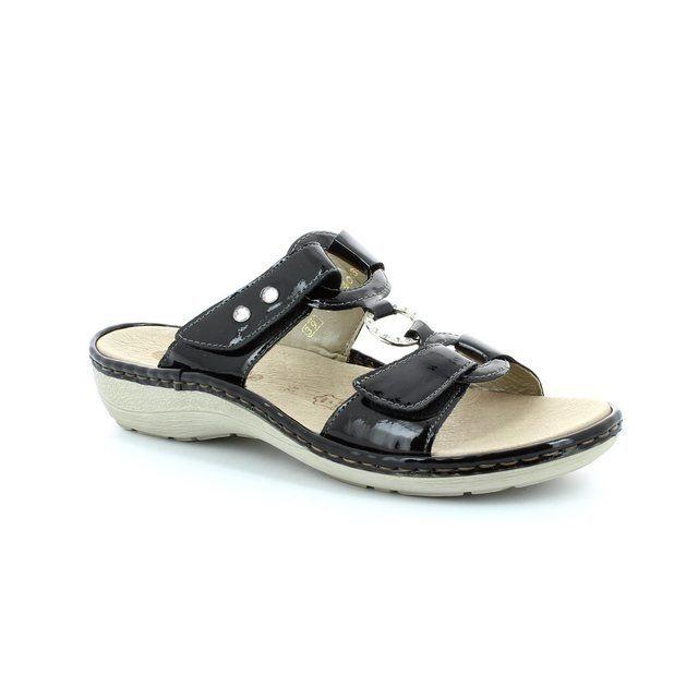 Remonte Dorndorf Doni D7652-01 Black patent sandals