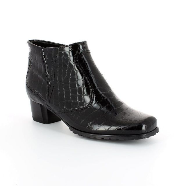 Ara Genfcroc 2261879-66 Black croc ankle boots