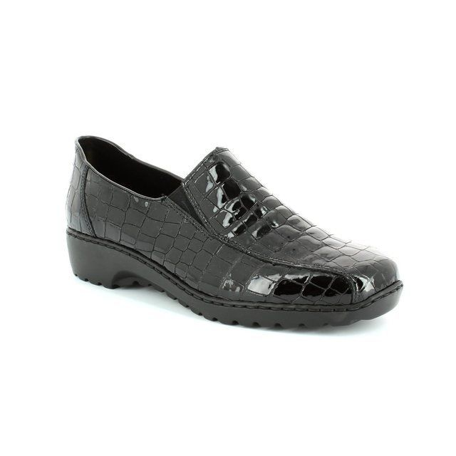 Rieker L6070-00 Black croc lacing shoes