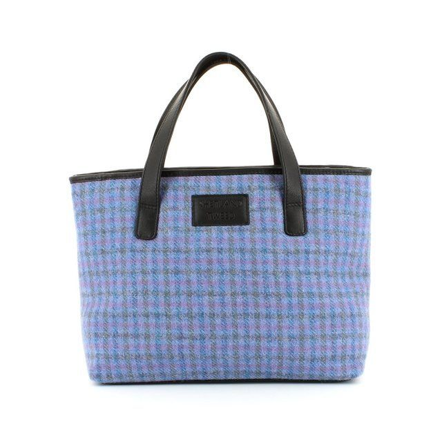 Shetland Tweed Med Grab Tweed 0003-80 Purple handbag