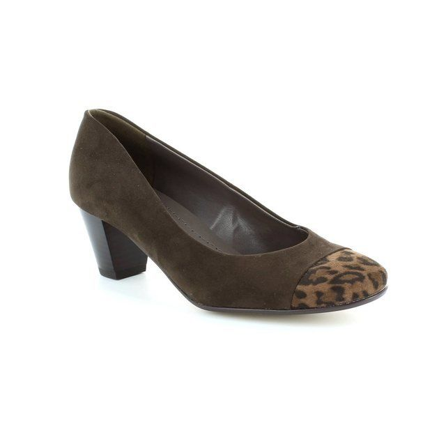 Ara Venezi 2262872-05 Brown suede or snake heeled shoes