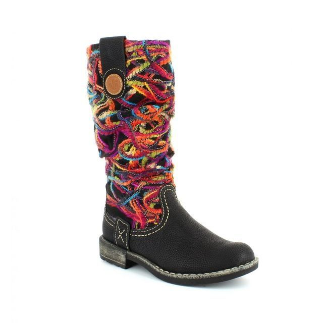 Rieker Boots - Long - Black multi - 74663-00 SCRIBBLE