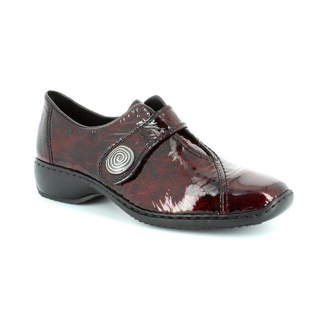 Rieker L3870-34 Wine patent lacing shoes