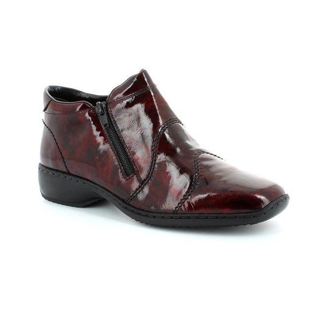 Rieker L3892-37 Wine patent ankle boots