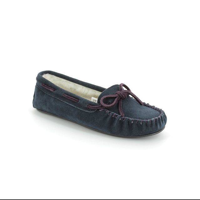 Clarks Wake Me D Fit Navy suede slippers