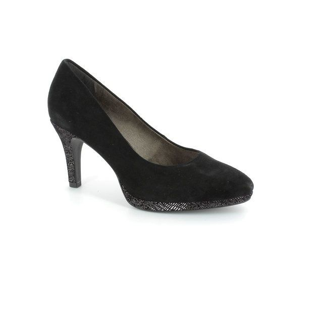 Tamaris 22405-001 Black suede high-heeled shoes