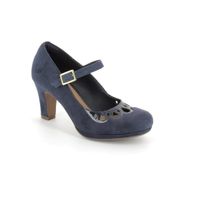 Clarks Chorus Music D Fit Navy suede high-heeled shoes