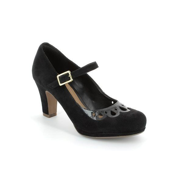 Clarks Chorus Music Black suede or snake high-heeled sh