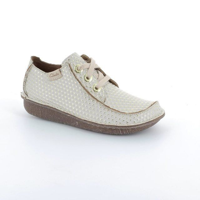 Clarks Funny Dream Off white multi lacing shoes