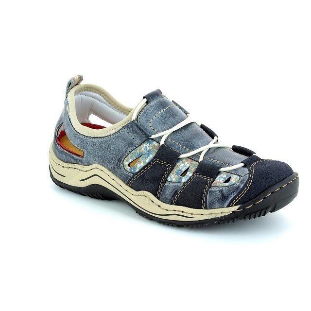 Rieker Trainers & Canvas - Blue multi - L0561-14 JEER