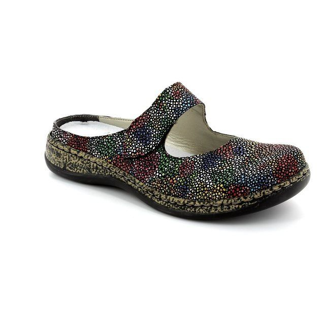 Rieker 46394-92 Black multi slipper mules