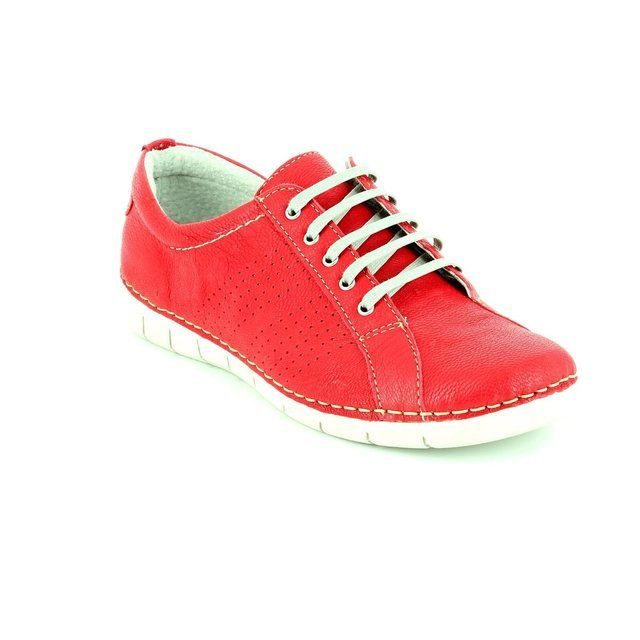 Relaxshoe 200109-80 Red leather lacing shoes