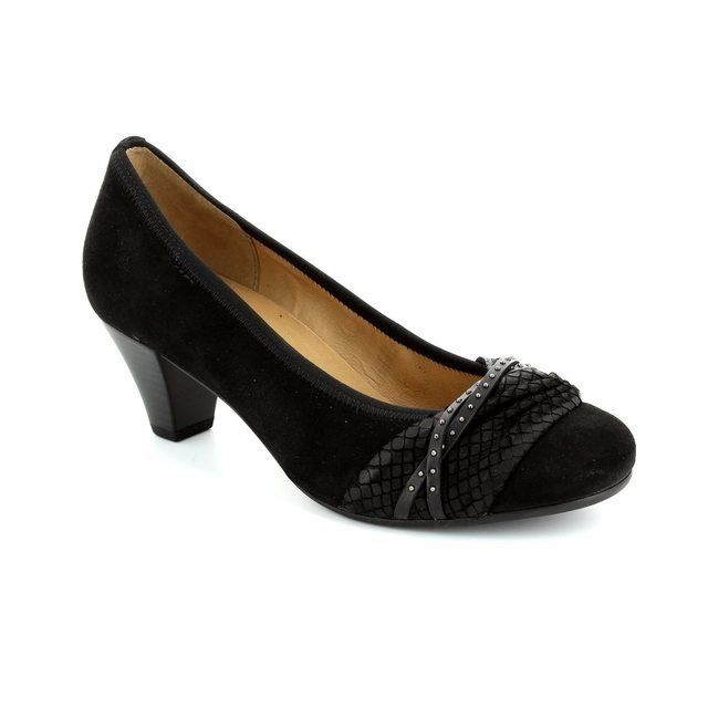 Gabor Gateway 45.481.37 Black suede heeled shoes