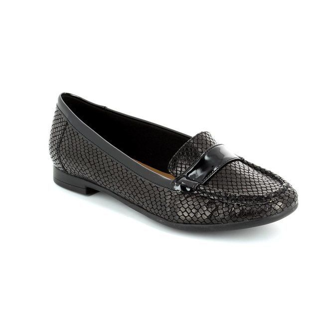 Clarks Atomic Lady Black patent/suede loafers