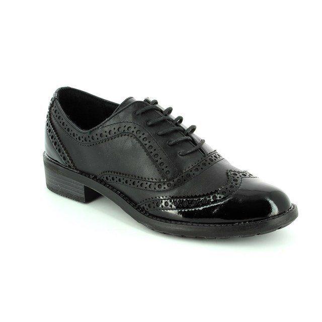 Marco Tozzi Drape 23703-098 Black patent lacing shoes