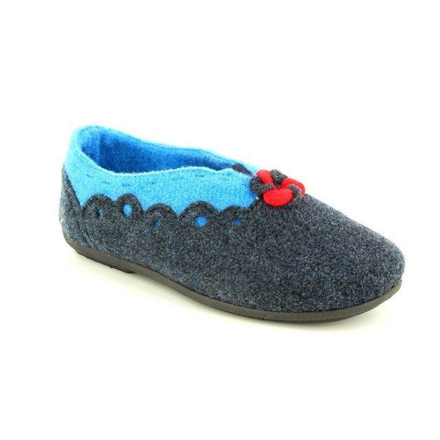 Padders Hannah 4009-96 Navy multi slippers