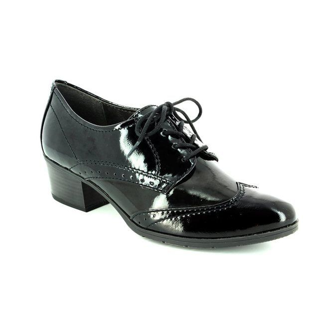 Jana Isco 23360-018 Black patent lacing shoes