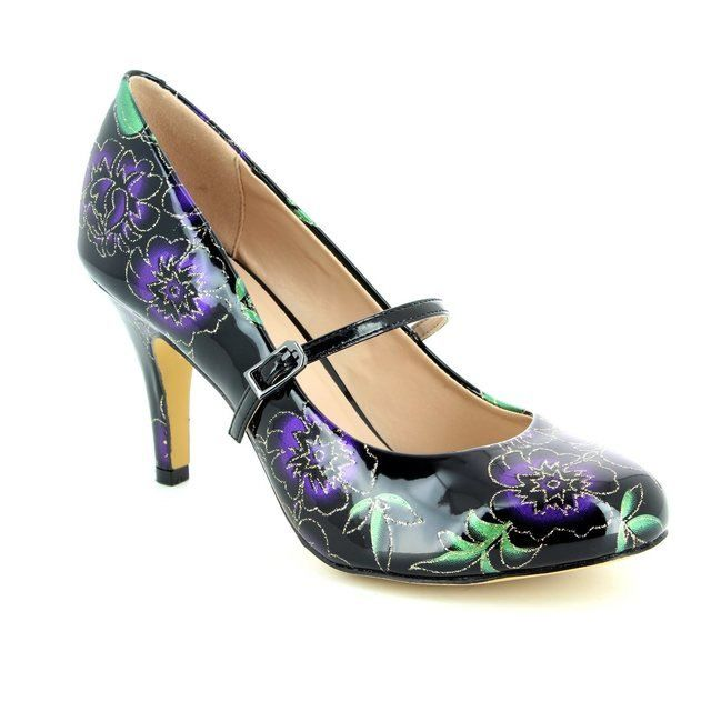 Lotus Celadine Black multi patent high-heeled shoes