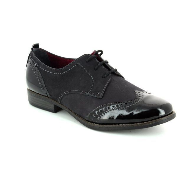 Tamaris Malika 23202-001 Black patent lacing shoes