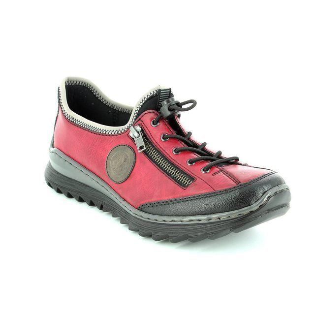 Rieker M6269-00 Wine-black combi lacing shoes