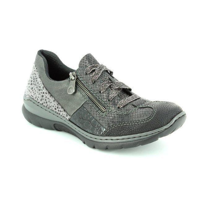 Rieker L3223-00 Black grey multi lacing shoes