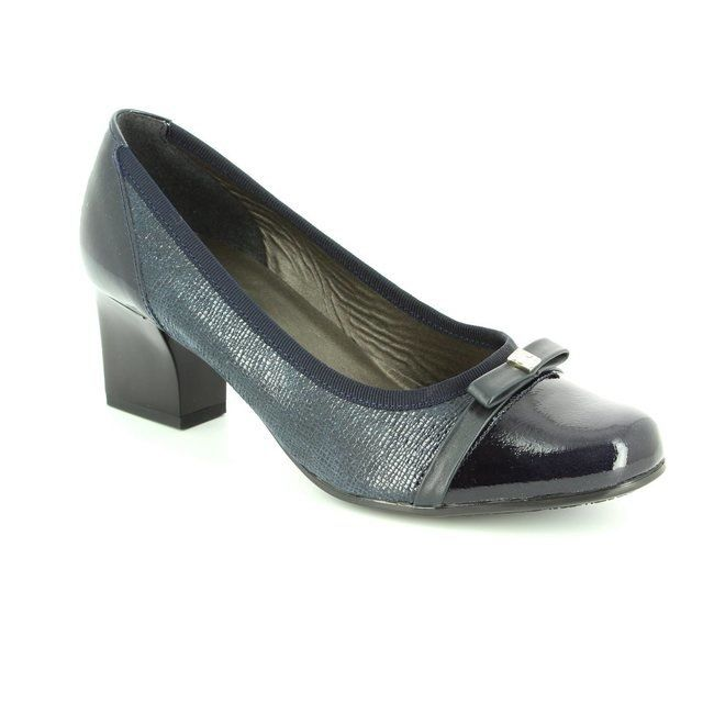 Alpina Heeled Shoes - Navy patent-suede - 8239/5 PIA