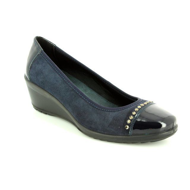 IMAC 62081-7171009 Navy patent-suede heeled shoes
