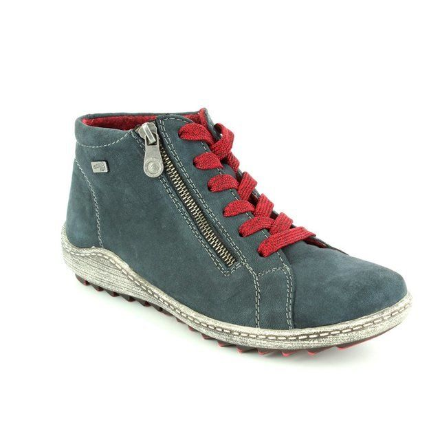 Remonte Zigzip Tex R1470-15 Navy suede ankle boots