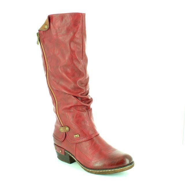 Rieker Boots - Long - Wine - 93655-35 BERNALO TEX