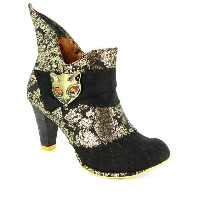 Irregular Choice Miaow 3432-02U Black multi ankle boots