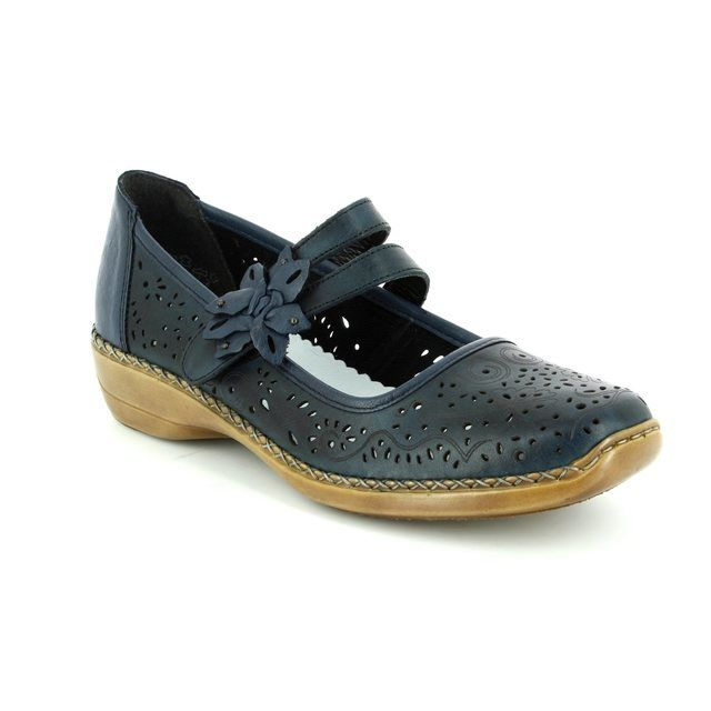 Rieker 41372-14 Navy lacing shoes