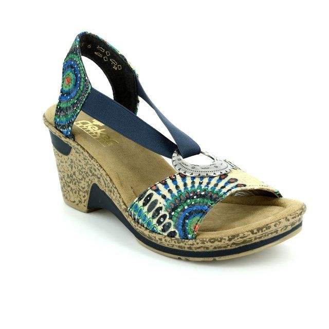 Rieker 60682-90 Navy multi floral or fabric sandals